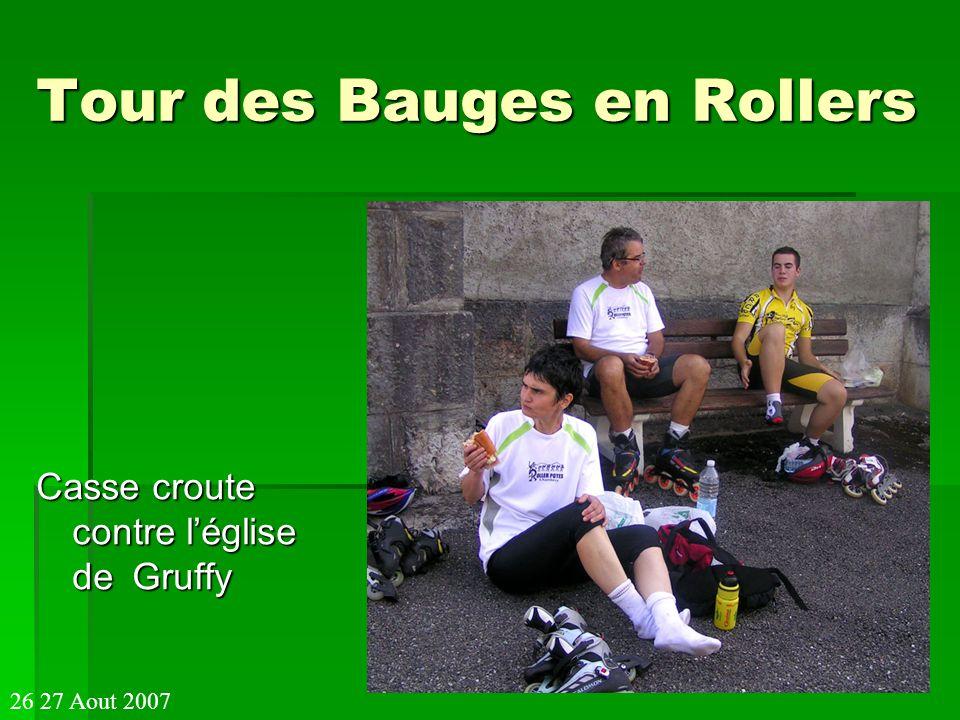 Tour des Bauges en Rollers Casse croute contre léglise deGruffy 26 27 Aout 2007