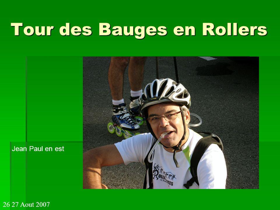 Tour des Bauges en Rollers Pascal étire son dos 26 27 Aout 2007