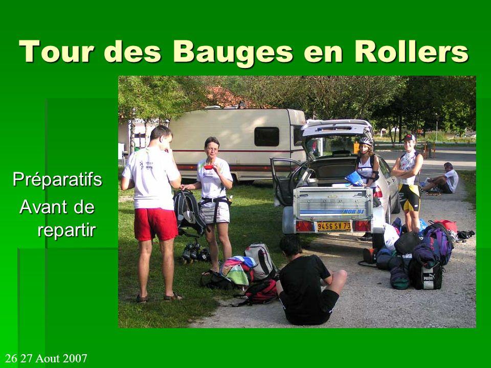 Tour des Bauges en Rollers Préparatifs Avant de repartir 26 27 Aout 2007