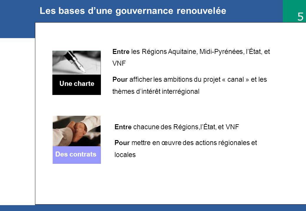 5 RP/Com Mars 2006 Les bases dune gouvernance renouvelée Une charte Entre les Régions Aquitaine, Midi-Pyrénées, lÉtat, et VNF Pour afficher les ambiti