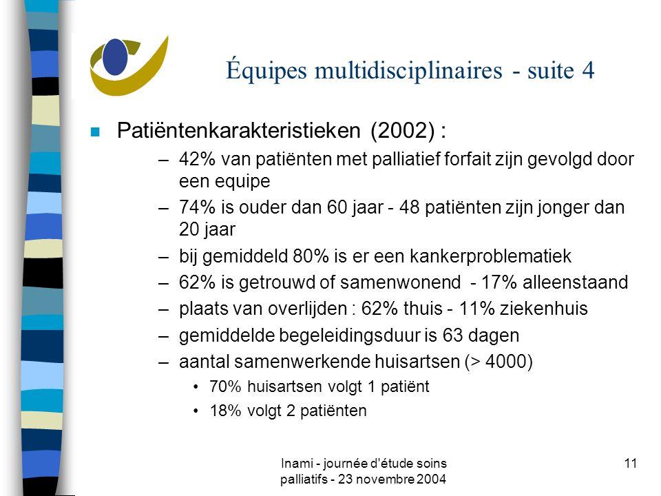 Inami - journée d étude soins palliatifs - 23 novembre 2004 11 Équipes multidisciplinaires - suite 4 n Patiëntenkarakteristieken (2002) : –42% van patiënten met palliatief forfait zijn gevolgd door een equipe –74% is ouder dan 60 jaar - 48 patiënten zijn jonger dan 20 jaar –bij gemiddeld 80% is er een kankerproblematiek –62% is getrouwd of samenwonend - 17% alleenstaand –plaats van overlijden : 62% thuis - 11% ziekenhuis –gemiddelde begeleidingsduur is 63 dagen –aantal samenwerkende huisartsen (> 4000) 70% huisartsen volgt 1 patiënt 18% volgt 2 patiënten