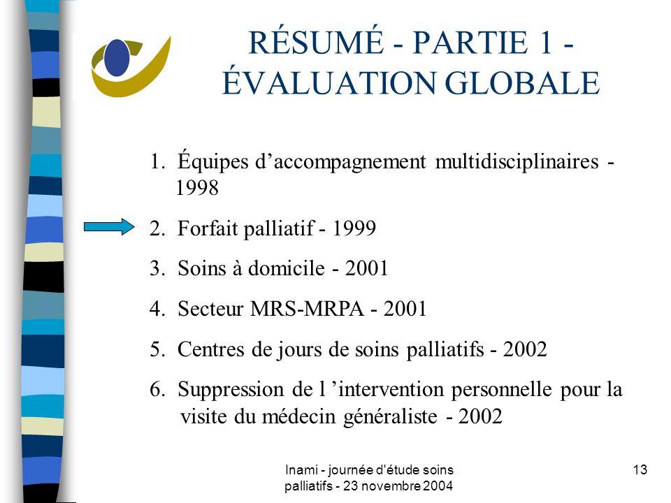 Inami - journée d étude soins palliatifs - 23 novembre 2004 13 RÉSUMÉ - PARTIE 1 - ÉVALUATION GLOBALE 1.