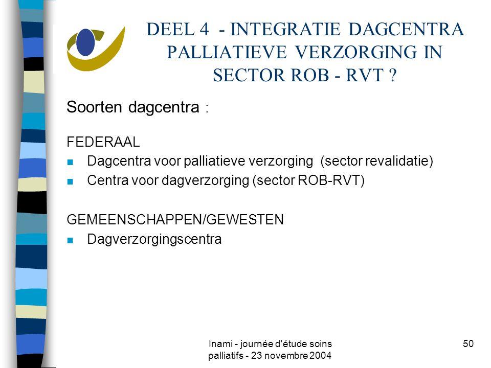 Inami - journée d'étude soins palliatifs - 23 novembre 2004 50 DEEL 4 - INTEGRATIE DAGCENTRA PALLIATIEVE VERZORGING IN SECTOR ROB - RVT ? Soorten dagc