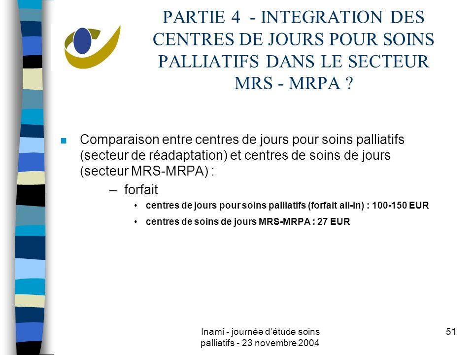 Inami - journée d étude soins palliatifs - 23 novembre 2004 51 PARTIE 4 - INTEGRATION DES CENTRES DE JOURS POUR SOINS PALLIATIFS DANS LE SECTEUR MRS - MRPA .