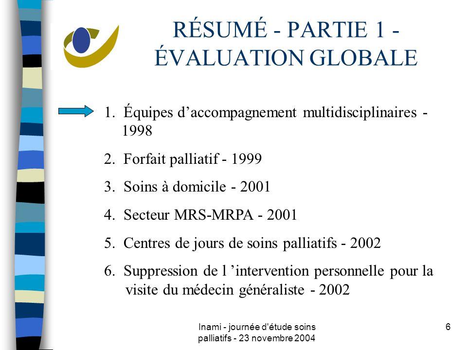 Inami - journée d étude soins palliatifs - 23 novembre 2004 6 RÉSUMÉ - PARTIE 1 - ÉVALUATION GLOBALE 1.