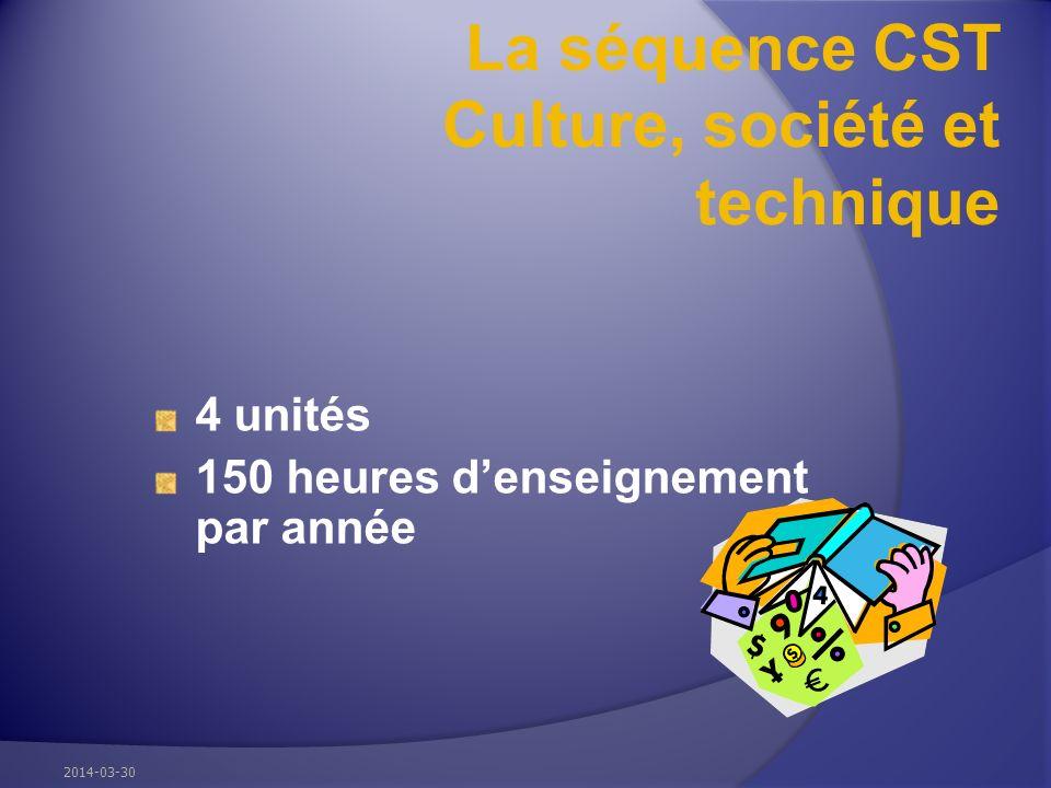 La séquence CST Culture, société et technique 4 unités 150 heures denseignement par année 2014-03-30