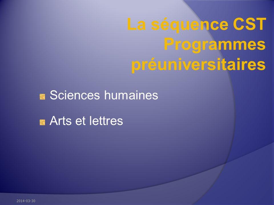 La séquence CST Programmes préuniversitaires Sciences humaines Arts et lettres 2014-03-30
