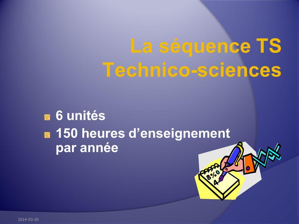 La séquence TS Technico-sciences 6 unités 150 heures denseignement par année 2014-03-30
