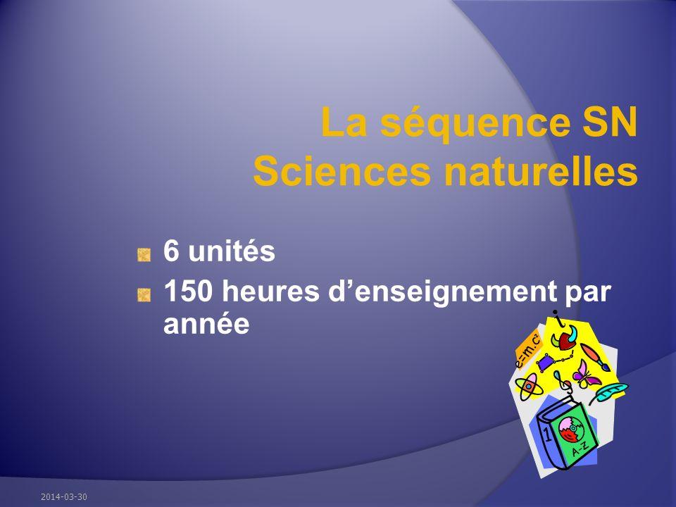La séquence SN Sciences naturelles 6 unités 150 heures denseignement par année 2014-03-30