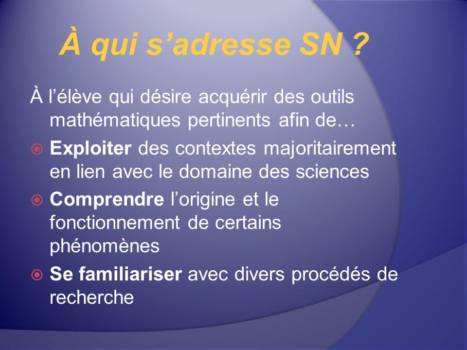 À qui sadresse SN ? À lélève qui désire acquérir des outils mathématiques pertinents afin de… Exploiter des contextes majoritairement en lien avec le