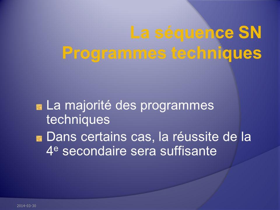 La séquence SN Programmes techniques La majorité des programmes techniques Dans certains cas, la réussite de la 4 e secondaire sera suffisante 2014-03