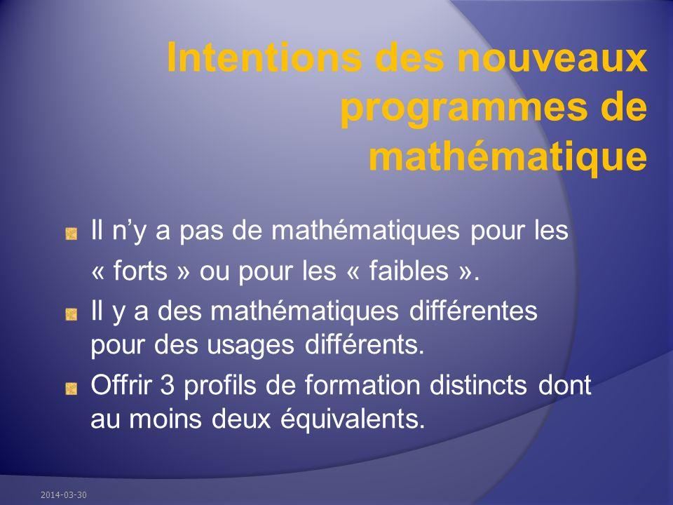 Intentions des nouveaux programmes de mathématique Il ny a pas de mathématiques pour les « forts » ou pour les « faibles ».