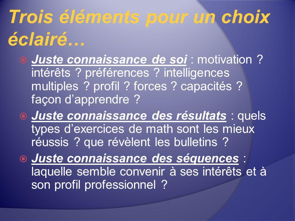 Trois éléments pour un choix éclairé… Juste connaissance de soi : motivation ? intérêts ? préférences ? intelligences multiples ? profil ? forces ? ca
