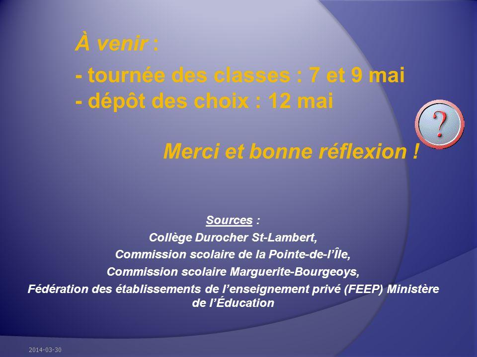 À venir : - tournée des classes : 7 et 9 mai - dépôt des choix : 12 mai Merci et bonne réflexion ! Sources : Collège Durocher St-Lambert, Commission s