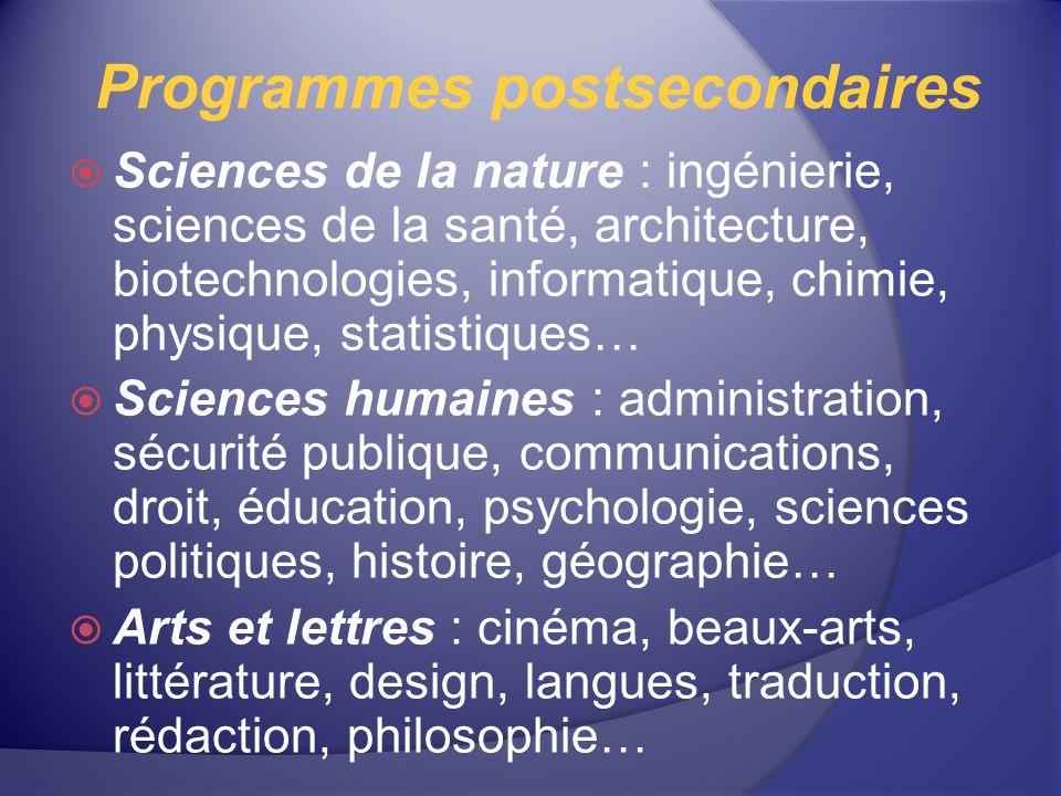 Programmes postsecondaires Sciences de la nature : ingénierie, sciences de la santé, architecture, biotechnologies, informatique, chimie, physique, st