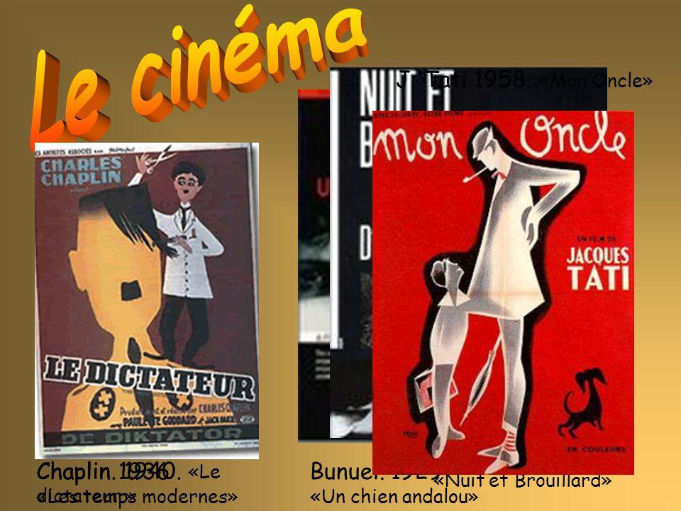 Bunuel. 1929 «Un chien andalou» Chaplin 1936 «Les temps modernes» A.Resnais. 1955. «Nuit et Brouillard» Chaplin. 1940. «Le dictateur » J. Tati 1958. «