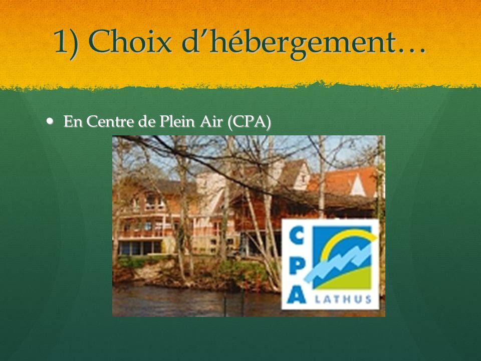 1) Choix dhébergement… En Centre de Plein Air (CPA) En Centre de Plein Air (CPA)