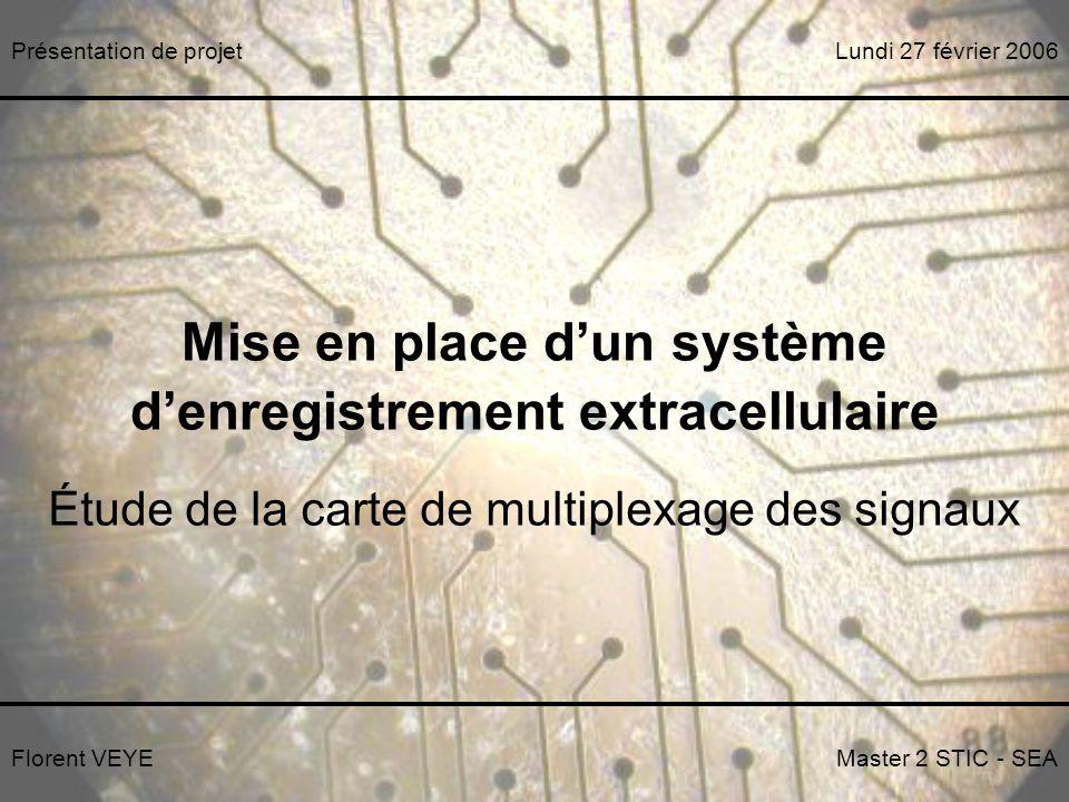 Mise en place dun système denregistrement extracellulaire Étude de la carte de multiplexage des signaux Florent VEYEMaster 2 STIC - SEA Lundi 27 février 2006Présentation de projet Merci de votre attention