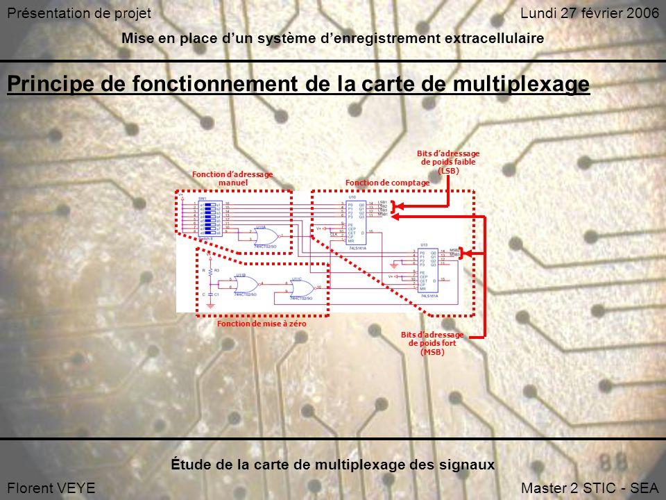 Mise en place dun système denregistrement extracellulaire Étude de la carte de multiplexage des signaux Florent VEYEMaster 2 STIC - SEA Lundi 27 février 2006Présentation de projet Principe de fonctionnement de la carte de multiplexage