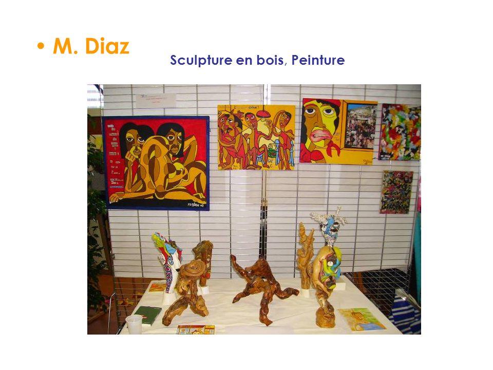 M. Diaz Sculpture en bois, Peinture
