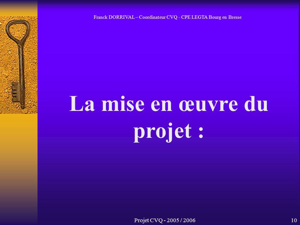 Projet CVQ - 2005 / 200610 La mise en œuvre du projet : Franck DORRIVAL – Coordinateur CVQ - CPE LEGTA Bourg en Bresse