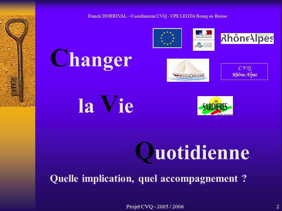 Projet CVQ - 2005 / 20062 C hanger la V ie Q uotidienne Quelle implication, quel accompagnement .