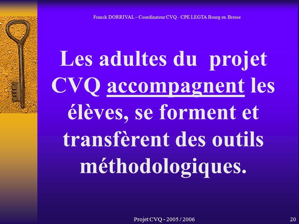 Projet CVQ - 2005 / 200620 Les adultes du projet CVQ accompagnent les élèves, se forment et transfèrent des outils méthodologiques.