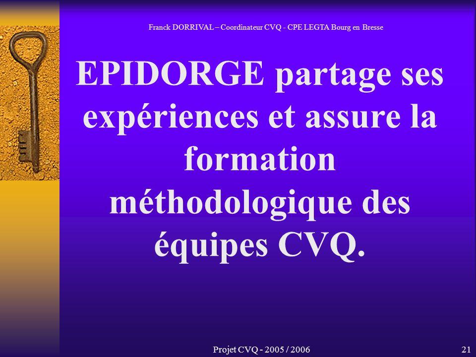 Projet CVQ - 2005 / 200621 EPIDORGE partage ses expériences et assure la formation méthodologique des équipes CVQ.