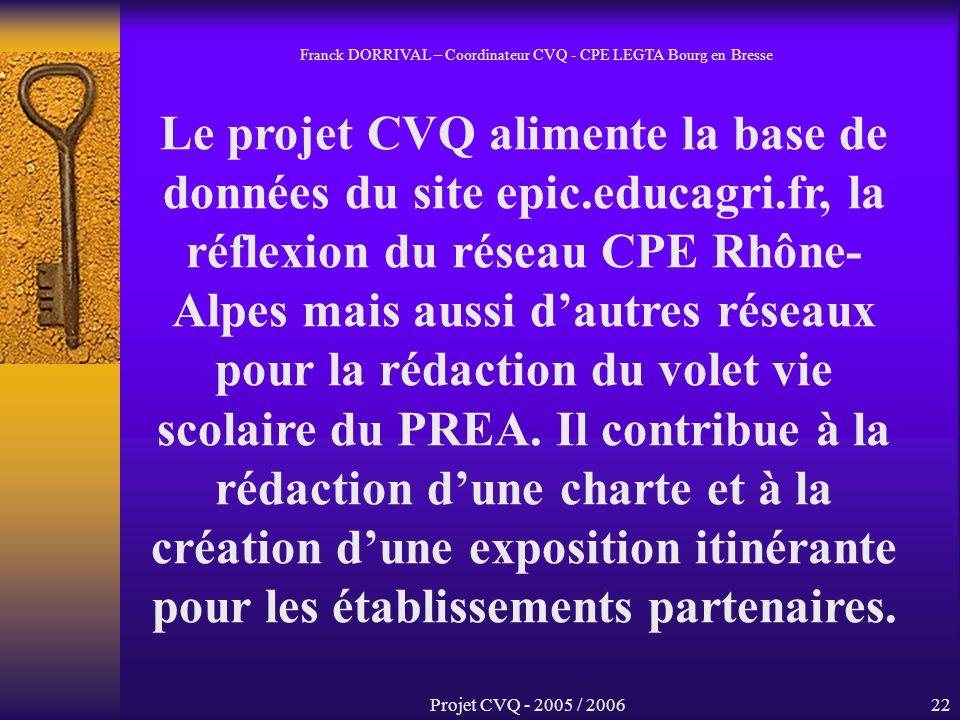 Projet CVQ - 2005 / 200622 Le projet CVQ alimente la base de données du site epic.educagri.fr, la réflexion du réseau CPE Rhône- Alpes mais aussi dautres réseaux pour la rédaction du volet vie scolaire du PREA.