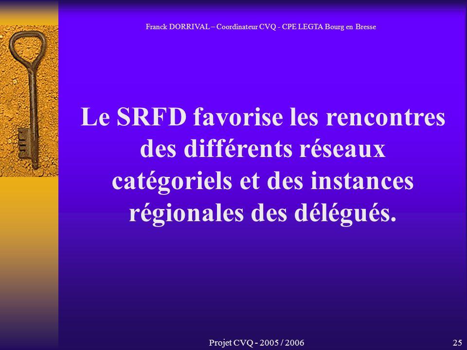 Projet CVQ - 2005 / 200625 Le SRFD favorise les rencontres des différents réseaux catégoriels et des instances régionales des délégués.