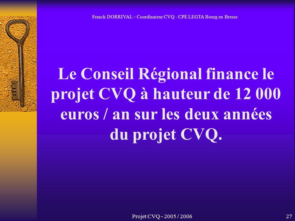 Projet CVQ - 2005 / 200627 Le Conseil Régional finance le projet CVQ à hauteur de 12 000 euros / an sur les deux années du projet CVQ.
