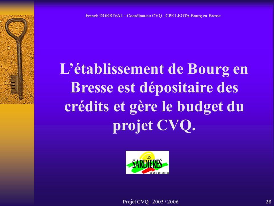 Projet CVQ - 2005 / 200628 Létablissement de Bourg en Bresse est dépositaire des crédits et gère le budget du projet CVQ.