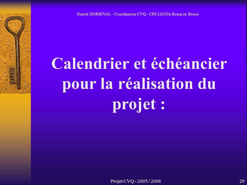 Projet CVQ - 2005 / 200629 Calendrier et échéancier pour la réalisation du projet : Franck DORRIVAL – Coordinateur CVQ - CPE LEGTA Bourg en Bresse