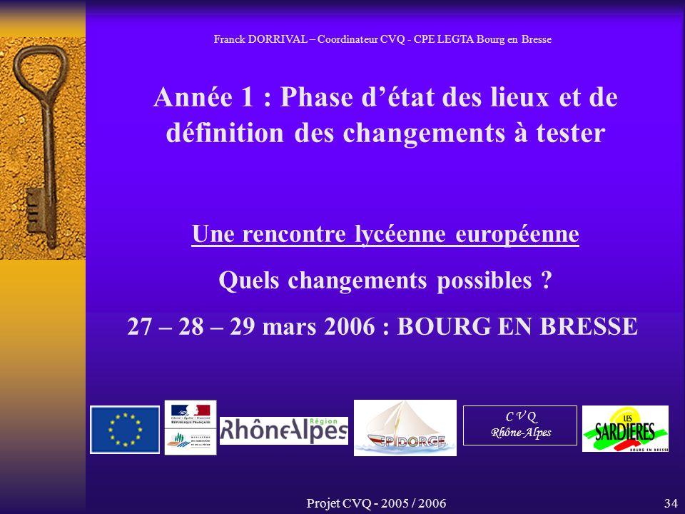 Projet CVQ - 2005 / 200634 Année 1 : Phase détat des lieux et de définition des changements à tester Une rencontre lycéenne européenne Quels changements possibles .