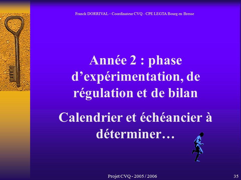 Projet CVQ - 2005 / 200635 Année 2 : phase dexpérimentation, de régulation et de bilan Calendrier et échéancier à déterminer… Franck DORRIVAL – Coordinateur CVQ - CPE LEGTA Bourg en Bresse