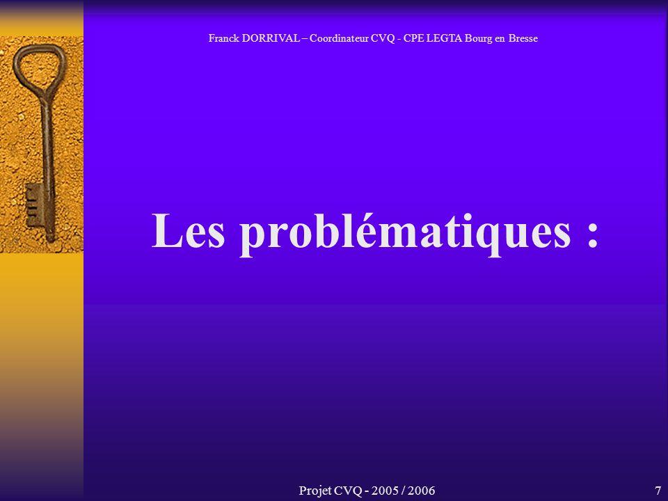 Projet CVQ - 2005 / 20067 Les problématiques : Franck DORRIVAL – Coordinateur CVQ - CPE LEGTA Bourg en Bresse