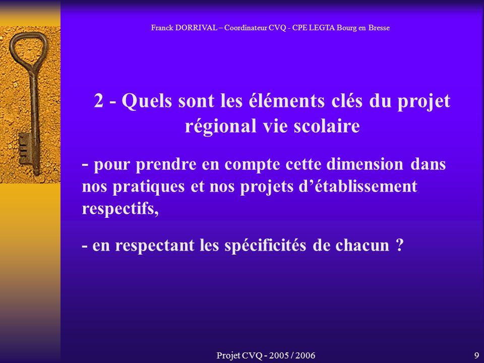 Projet CVQ - 2005 / 20069 2 - Quels sont les éléments clés du projet régional vie scolaire - pour prendre en compte cette dimension dans nos pratiques et nos projets détablissement respectifs, - en respectant les spécificités de chacun .