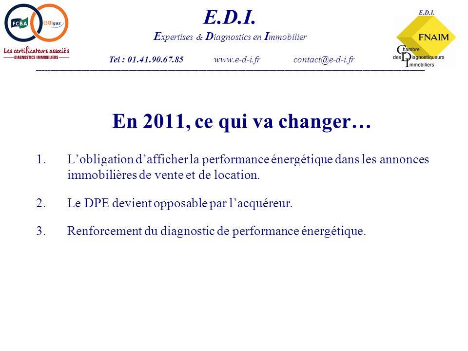 En 2011, ce qui va changer… 1.Lobligation dafficher la performance énergétique dans les annonces immobilières de vente et de location.