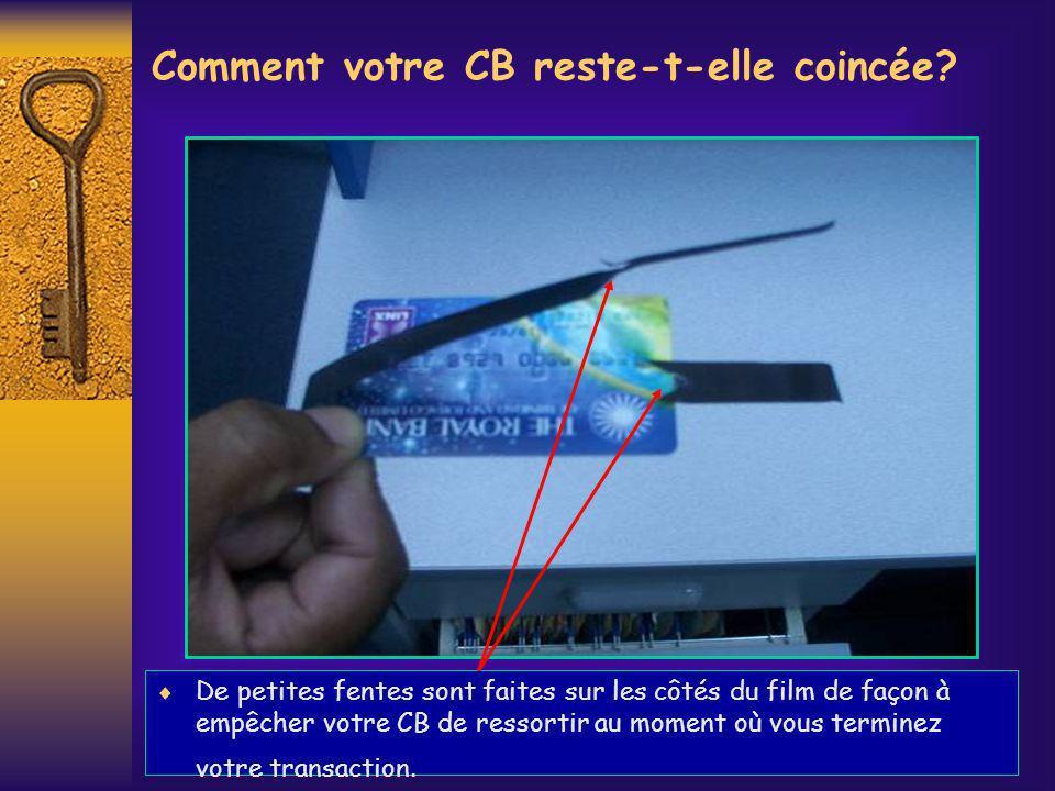 Comment votre CB reste-t-elle coincée? De petites fentes sont faites sur les côtés du film de façon à empêcher votre CB de ressortir au moment où vous