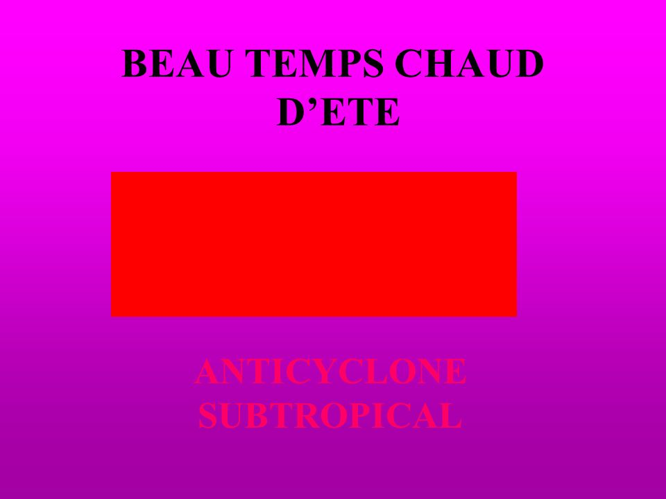 BEAU TEMPS CHAUD DETE ANTICYCLONE SUBTROPICAL