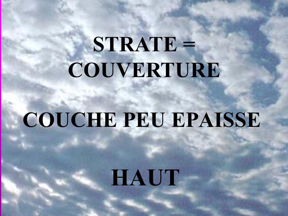 COUCHE PEU EPAISSE STRATE = COUVERTURE HAUT