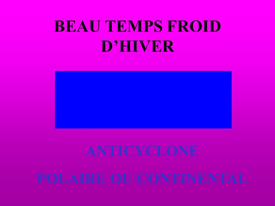 BEAU TEMPS FROID DHIVER ANTICYCLONE POLAIRE OU CONTINENTAL