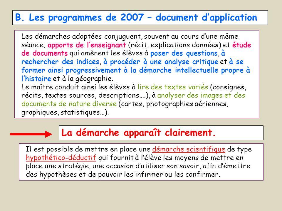 B. Les programmes de 2007 – document dapplication Les démarches adoptées conjuguent, souvent au cours dune même séance, apports de lenseignant (récit,