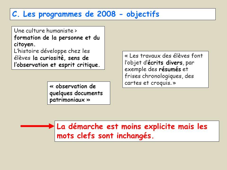 C. Les programmes de 2008 - objectifs Une culture humaniste > formation de la personne et du citoyen. Lhistoire développe chez les élèves la curiosité