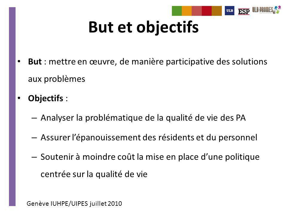 Genève IUHPE/UIPES juillet 2010 But et objectifs But : mettre en œuvre, de manière participative des solutions aux problèmes Objectifs : – Analyser la