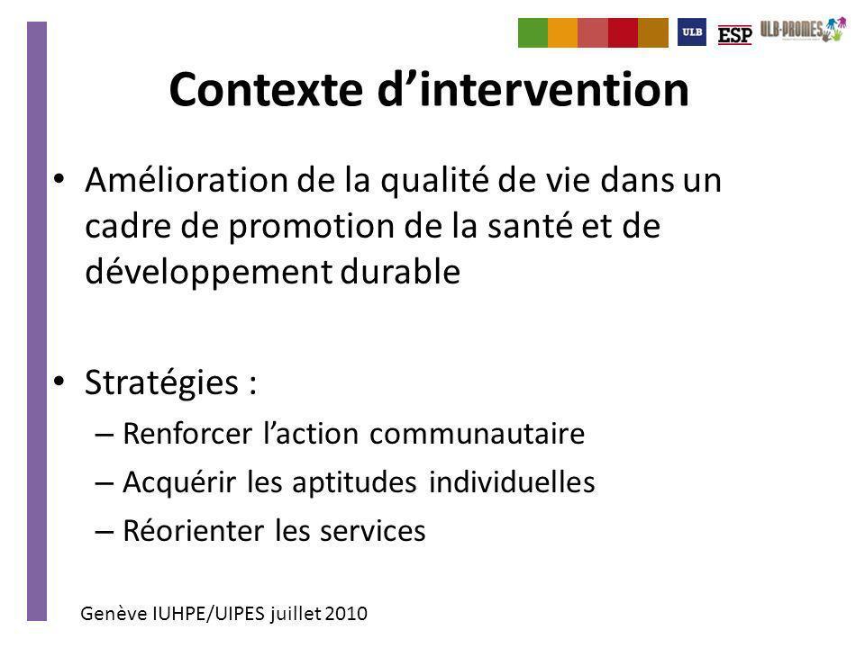 Genève IUHPE/UIPES juillet 2010 Contexte dintervention Amélioration de la qualité de vie dans un cadre de promotion de la santé et de développement du