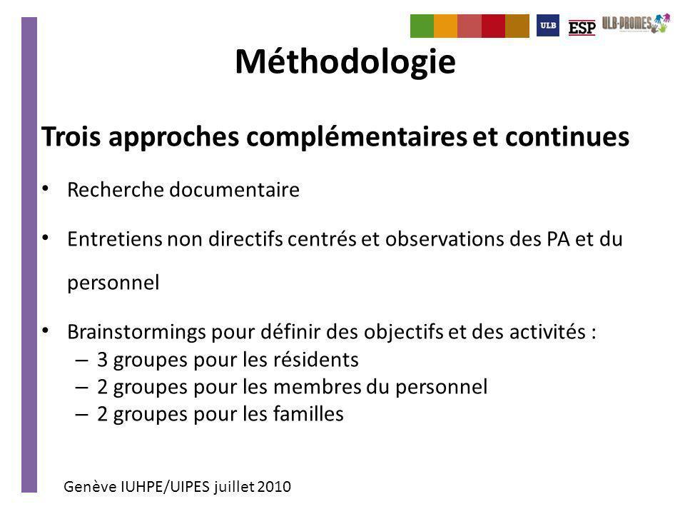 Genève IUHPE/UIPES juillet 2010 Méthodologie Trois approches complémentaires et continues Recherche documentaire Entretiens non directifs centrés et o