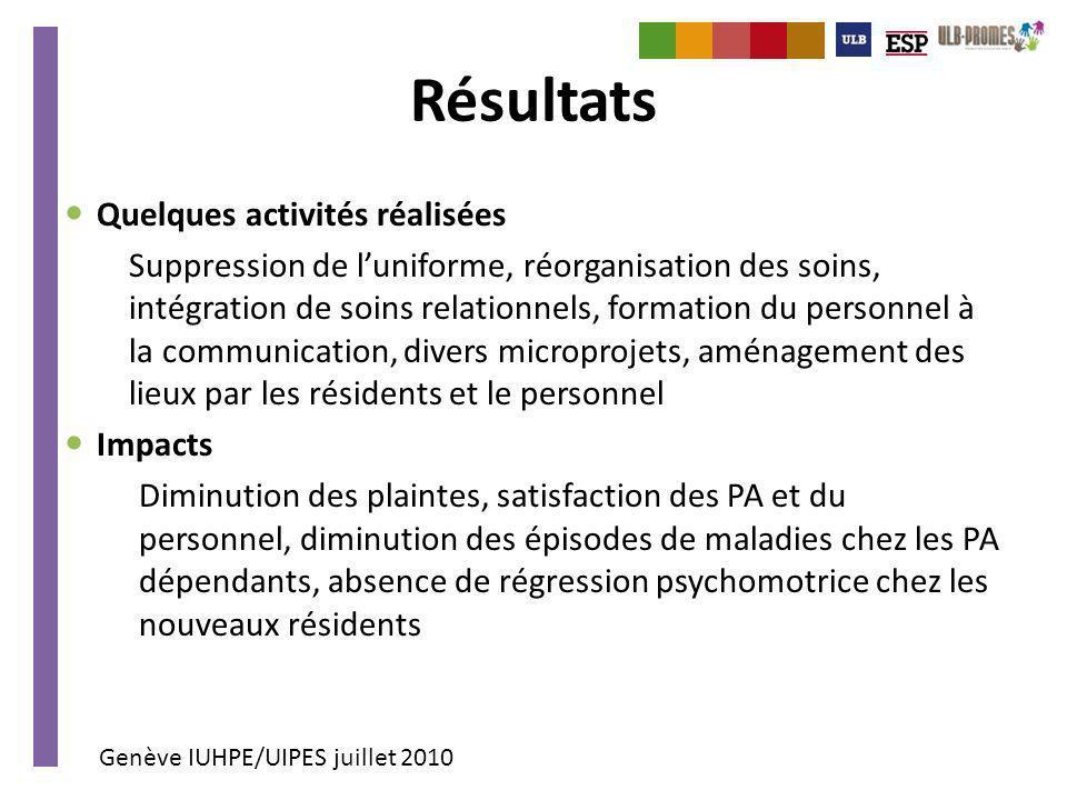 Genève IUHPE/UIPES juillet 2010 Résultats Quelques activités réalisées Suppression de luniforme, réorganisation des soins, intégration de soins relati