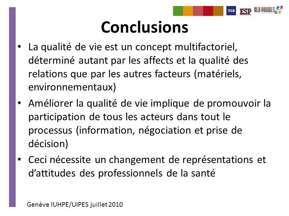 Genève IUHPE/UIPES juillet 2010 Conclusions La qualité de vie est un concept multifactoriel, déterminé autant par les affects et la qualité des relati