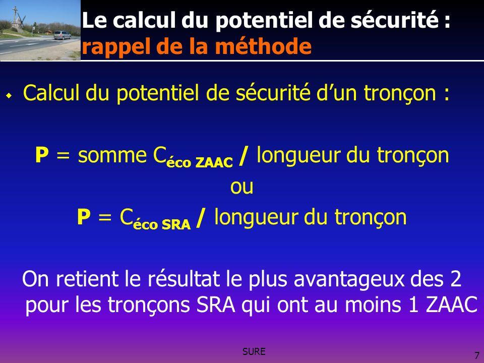 SURE 7 Le calcul du potentiel de sécurité : rappel de la méthode Calcul du potentiel de sécurité dun tronçon : P = somme C éco ZAAC / longueur du tronçon ou P = C éco SRA / longueur du tronçon On retient le résultat le plus avantageux des 2 pour les tronçons SRA qui ont au moins 1 ZAAC